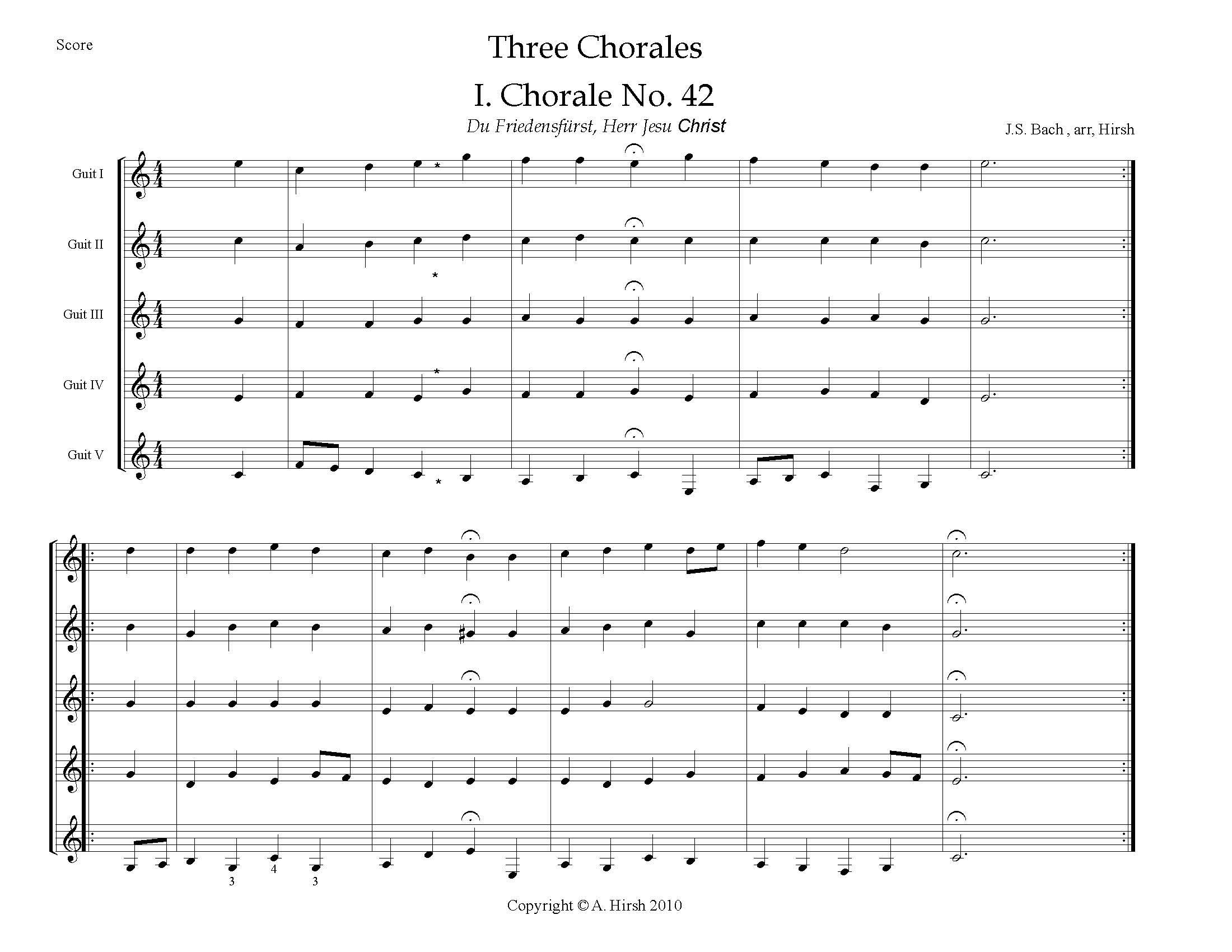Three Chorales by J.S. Bach (E)